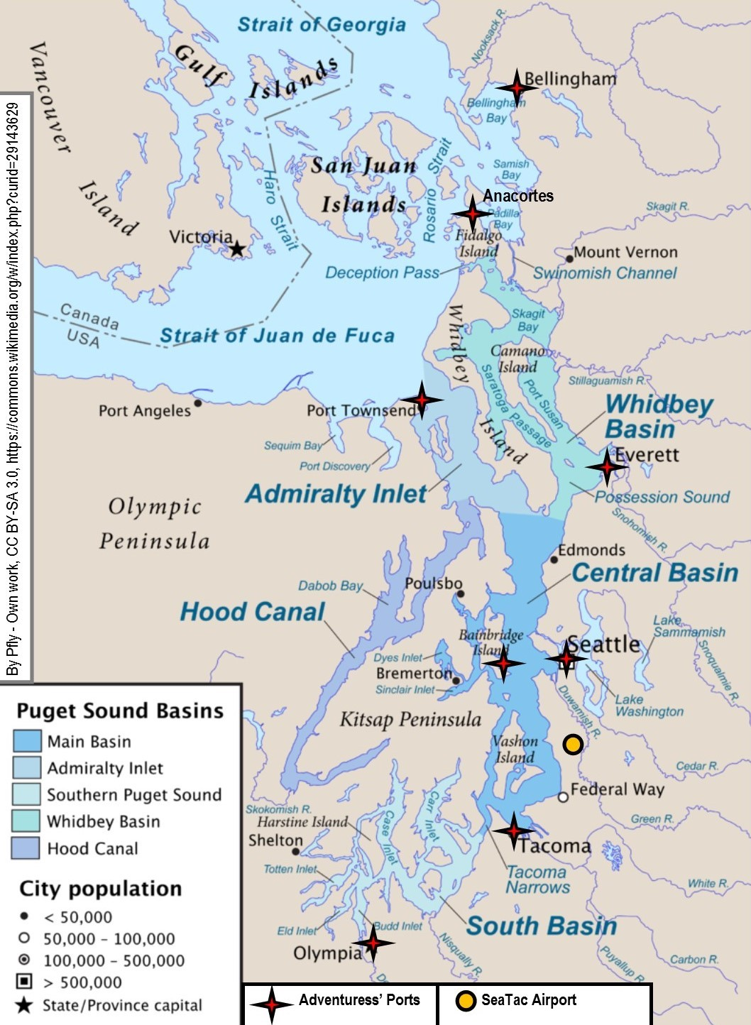 Map of Puget Sound for Packet